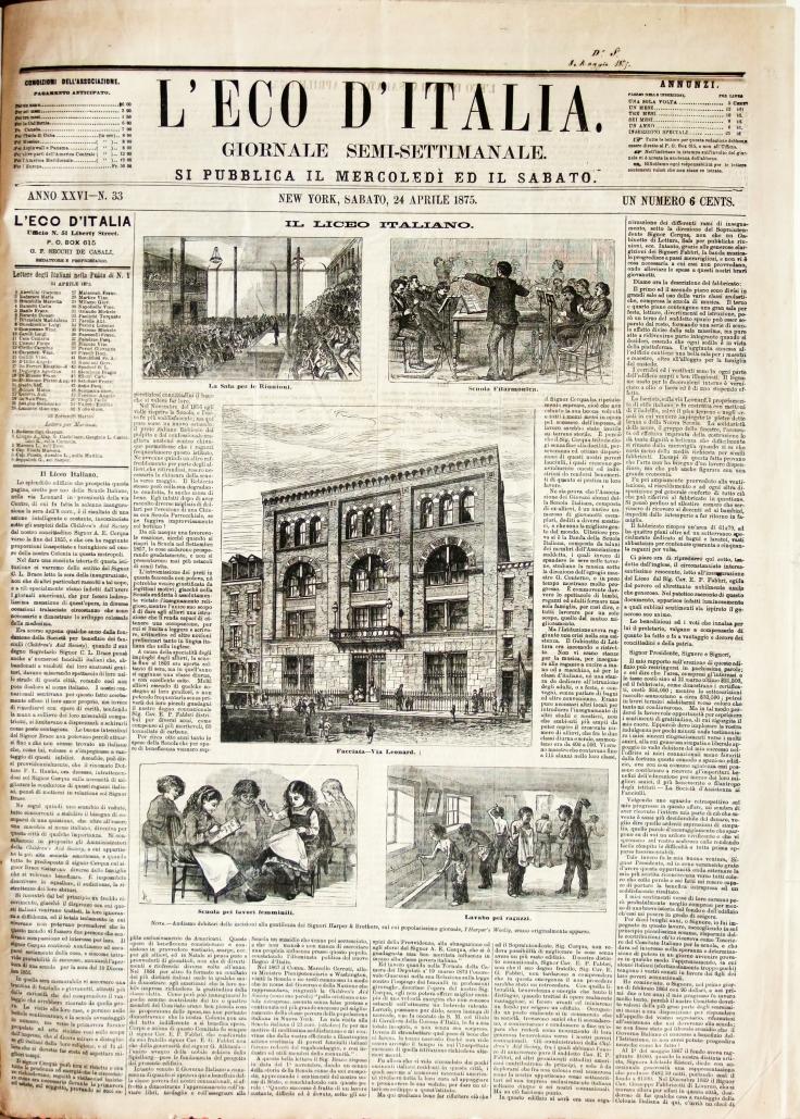 La prima pagina pagina dell'Eco d'Italia conservato a Piacenza.